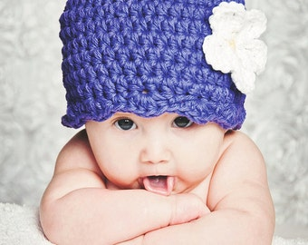 Newborn Baby Girl Hat Purple Baby Hat Newborn Girl Hat Baby Girl Clothes Baby Girl Beanie Crochet Flower Hat Flapper Beanie Cute Photo Prop