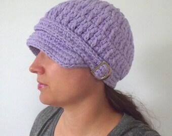 Womens Newsboy Hat Lavender Newsboy Cap Light Purple Newsboy Womens Hat Womens Cap Lavender Hat Lavender Cap Crochet Newsboy Knit Buckle