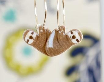 Hanging sloth earrings, cute animal dangles