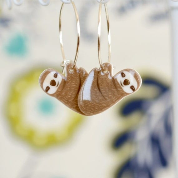 Hanging sloth earrings