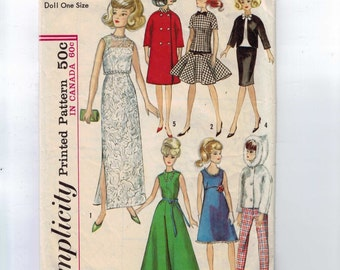 1960s Vintage Sewing Pattern Simplicity 6208 11 1/2 Inch Fashion Doll Clothes Barbie Evening Gown Party Dress Hooded Coat Jacket 1965 60s