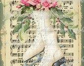 Pink Christmas Ice Skates and roses Large digital download ECS buy 3 get one free