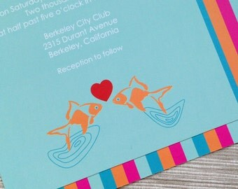 Cute Wedding Invitations Kissing Fish Heart Love Water Stripes Turquoise Red Orange - DESIGN FEE
