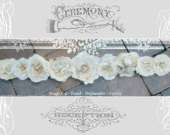 Wedding Garland 3ft Paper Flowers Rose Swags from Vintage Book Pages for Rustic Woodland Beach Shabby Chic Boho Lakeside Decor