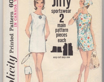 """1960's Vintage Sewing Pattern Ladies' Tenis Dress Simplicity 5444 36"""" Bust - Free Pattern Grading E-book Included"""