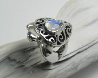 Sea Turtle Moonstone Ring - Sterling Silver Rainbow Moonstone - Unique Sea Turtle Jewelry - Ocean Inspired - Sea Life Gemstone Bezel Ring