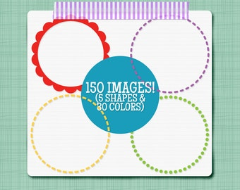Circle Clip Art Decorative Circles Clipart Images - Set of 150 Circle Frames - Personal & Commercial Use INSTANT DOWNLOAD