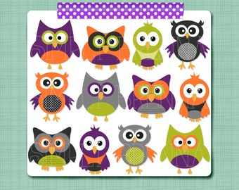 Halloween Owl Clip Art Digital Owl Clipart Personal & Commercial Use INSTANT DOWNLOAD