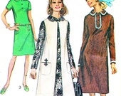 1970s Front Button Shift Dress Sleeveless Vest Coat Duster Jacket Vintage Sewing Pattern Simplicity 9083 Plus Size Bust 41