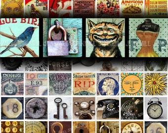 "MINI MEDLEY I - Digital Printable Collage Sheet - Variety Sampler with Vintage Retro & Steampunk Images, 1"" Square, 25 mm, Scrabble Tile"