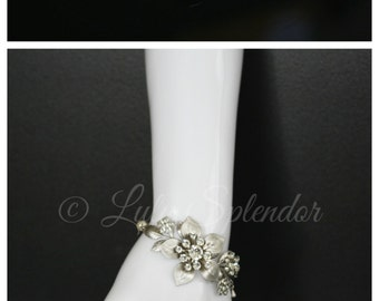Bridal Wedding Bracelet Crystal Flower Corsage Bridal Bracelet Vintage Wedding Jewelry GAEA