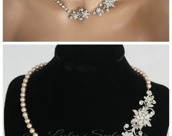 Wedding Necklace Crystal Bridal Necklace Flower and Leaf Necklace Champagne Pearl Wedding Jewelry CLASSIC TESS