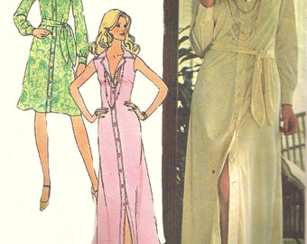 1970s Shirtdress Pattern Vintage Sewing Simplicity Dress Day Evening Uncut Women's Misses Size 10 Bust 32 . 5 Inches