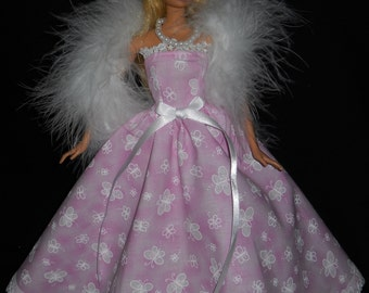 3 Piece Outfit Barbie Doll Dress Handmade Gown Pink with Buttterflys and Lace with Boa and Necklace
