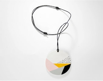 Hand painted geometric pendant - Leather cord