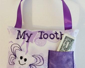 Purple Pocket Fairy Tooth Fairy Pillow Lavender Ribbon Bed Door Butterflies Kids Gift Decor