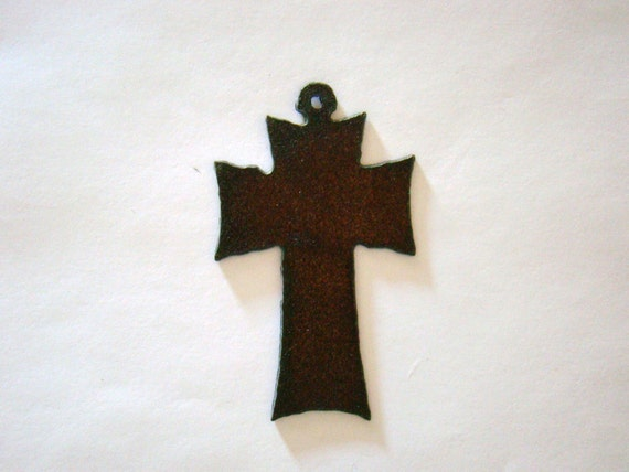 Solid Straight Cross Recycled Metal Pendant Cutout