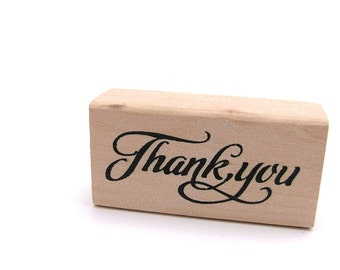 SALE - Thank You Stamp - Craft Rubber Stamp - Wedding Stamp - Calligraphy Stamp - Wooden Stamp - Craft Supplies - Gift Tag Stamp