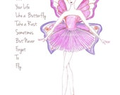 Pink ballerina Illustration Print- Girls Room Decor-Inspirational Print-Live Your LIfe Like a Buttefly- Pink Bedroom - Zoia