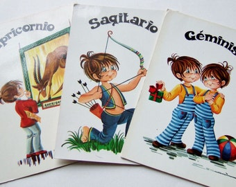 Three Kitsch Cute 1970s Postcards with Signs of the Zodiac - Vintage Spanish Postcards