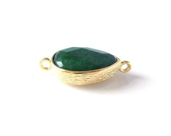1pc- Matte Gold Plated Emerald Green Jade  Tear Drop Connector Pendant- 32x12mm (013-008GP)