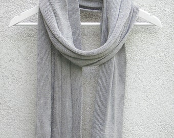 Scarf Gray Knitted Unisex Scarf Pure Merino Gift Father's Day Light Grey Wool Scarf Cache-col echarpe