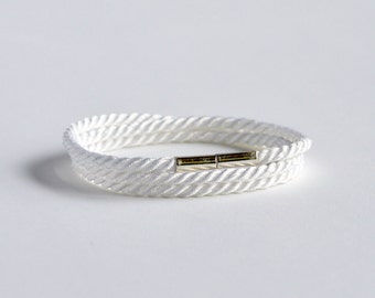 Triple wrap white rope bracelet with silver magnetic clasp