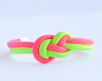 Neon lime green and neon hot pink infinity knot parachute cord rope bracelet