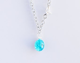 Turquoise blue shattered glass cracked fried marble chunky silver cable chain necklace with silver toggle clasp