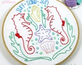 Seahorse Beach Summer Hand Embroidery PDF Pattern