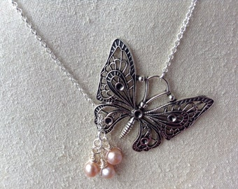 Butterfly Necklace, Steampunk Butterfly Necklace with Pearl Drops