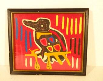Vintage San Blas Indian Mola..Vintage Handmade Mola..Bird Mola..Vintage Handmade Mola..Kiwi Bird Mola