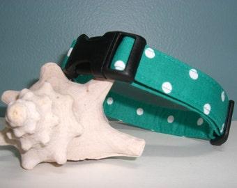 Teal Polka Dots Adjustable Cotton Dog Collar