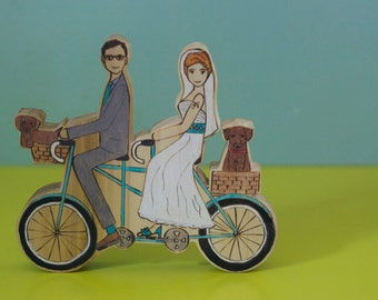 Custom Wedding Cake Topper Couple on a Double Bike with Two Pets