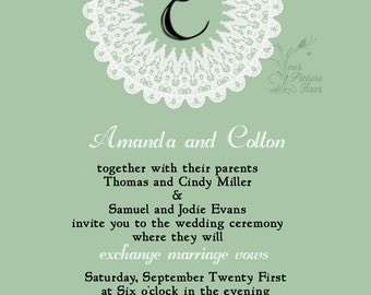 Wedding Invitations - Monogram Lace Doilie
