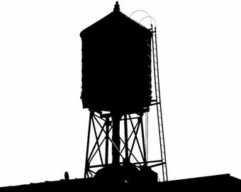 New York Water Tower 17, Silhouette, Urban Icons, Signed Print available in various sizes, Industrial chic, Urban chic.