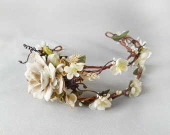 bridal wreath hairpiece, ivory flower head wreath, cream wedding head piece, bridal hair accessories - LIMBERLOST - rustic wedding crown