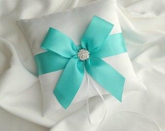 Wedding Ring Bearer Pillow - White Satin Ring Bearer Pillow with Aqua Satin Ribbon