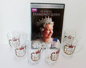 Six Miniature Tankards, Mini Beer Steins, Shot Glass Mugs, Queen Elizabeth 1977 Commemorative Vintage cordial liqueur jigger juice glass