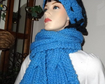 50% Off  -  Exquisite Long Cabled Scarf and Hat Set  - Sky Blue