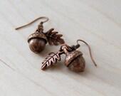 Copper Acorn Charm Earrings