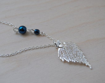 Small/Tiny Fallen Silver Birch Leaf Necklace - REAL Birch Leaf