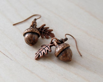 Copper Acorn Charm Earrings
