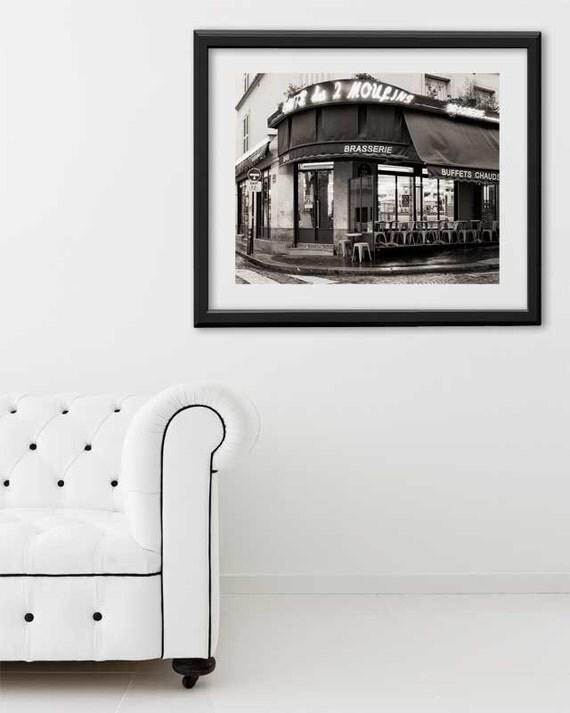 """SALE! Paris Print, """"Cafe Moulins"""" Extra Large Wall Art, Paris Photography Art Print, Oversized Art, Fine Art Photography Paris Decor"""