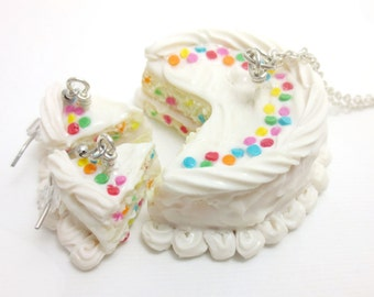 Vanilla Birthday Cake Set, Miniature Food Jewelry, Polymer Clay Food Jewelry