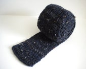 Long Knitted Scarf / Navy Blue Knit Scarf / Hand Knit Scarf / Gray Scarf / Navy Grey Tweed Scarf /