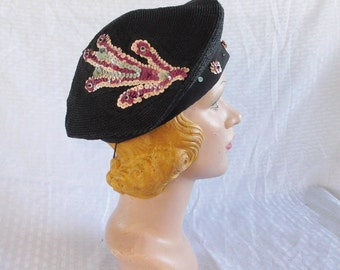 Clearance 1930's Vintage Black Straw Beret Hat With Amazing Sequin Detail