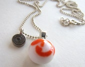 Orange and White Protozoan Necklace with Charm
