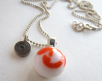 Orange and White Dwarf Planet Necklace with Charm