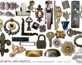 INSTANT DOWNLOAD - 35 Large Digital Graphics Metal Elements, Print, Scrapbook, Web, Design, Commercial Use OK